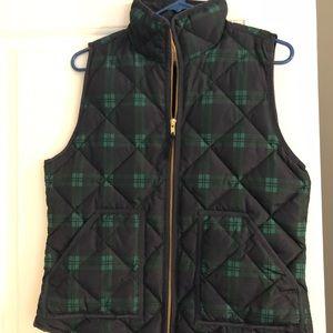 NWOT: JCrew Plaid zip puffer vest